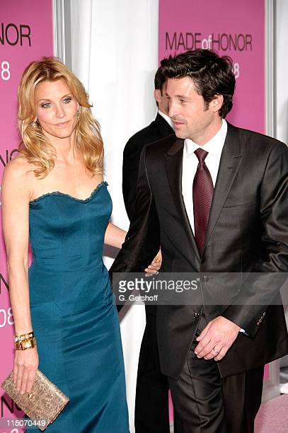 Actor Patrick Dempsey and wife celebrity makeup artist Jillian Dempsey arrive at the 'Made of Honor' New York Premiere at the Ziegfeld Theatre April...