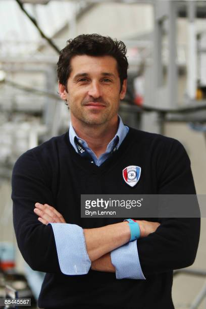 Actor Patrick Dempsey is seen in the pitlane during previews before the 77th running of the Le Mans 24 Hour race at the Circuit des 24 Heures du Mans...