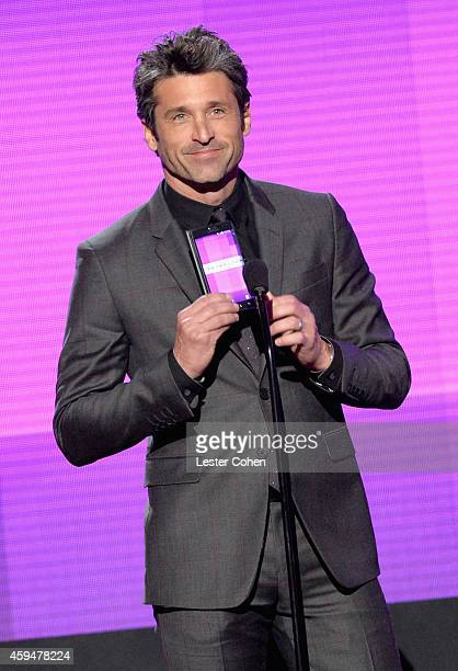Actor Patrick Dempsey speaks onstage at the 2014 American Music Awards at Nokia Theatre LA Live on November 23 2014 in Los Angeles California