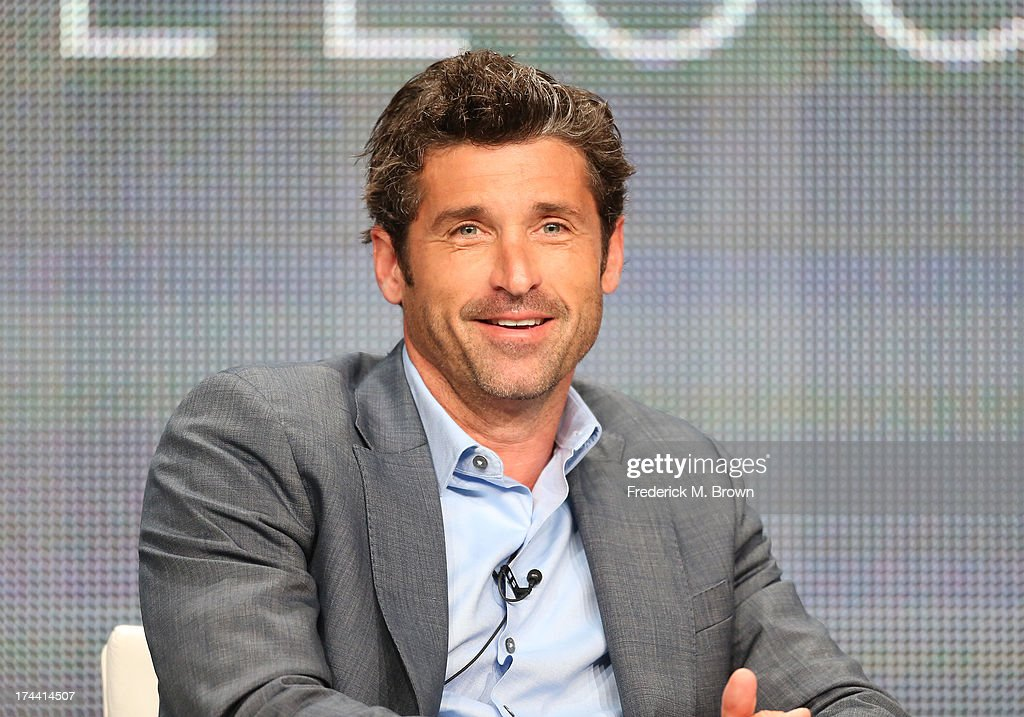 Actor <a gi-track='captionPersonalityLinkClicked' href=/galleries/search?phrase=Patrick+Dempsey&family=editorial&specificpeople=241264 ng-click='$event.stopPropagation()'>Patrick Dempsey</a> speaks onstage at the 'Racing LeMans' panel discussion during the Velocity portion of the 2013 Summer Television Critics Association tour - Day 2 at the Beverly Hilton Hotel on July 25, 2013 in Beverly Hills, California.