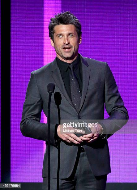 Actor Patrick Dempsey speaks onstage during the 2014 American Music Awards held at Nokia Theatre LA Live on November 23 2014 in Los Angeles California
