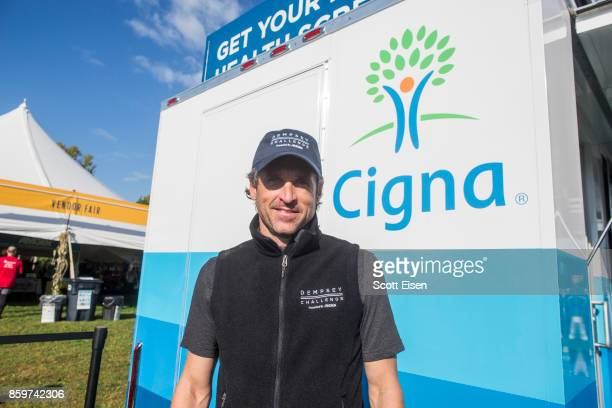 Actor Patrick Dempsey tours Cigna Foundation Health Improvement Tour Mobile Unit at the Annual Dempsey Challenge on October 7 2017 in Lewiston Maine