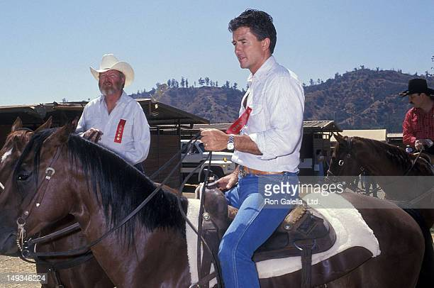 Actor Patrick Duffy attends Ben Johnson Pro/Celebrity Rodeo to Benefit Permanent Charities Committee of the Entertainment Industry on August 13 1989...
