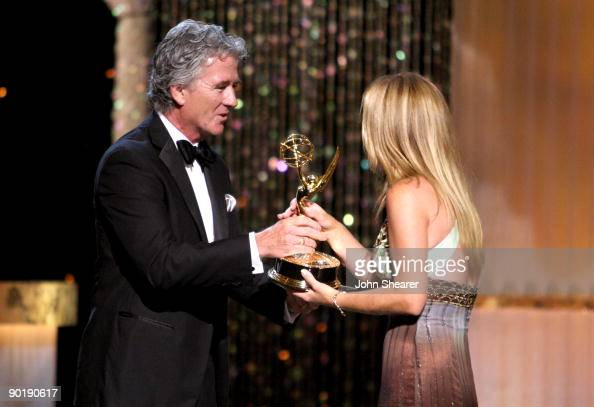 Actor Patrick Duffy presents actress Susan Haskell the Emmy for Lead Actress in a Drama Series during the 36th Annual Daytime Emmy Awards at The...
