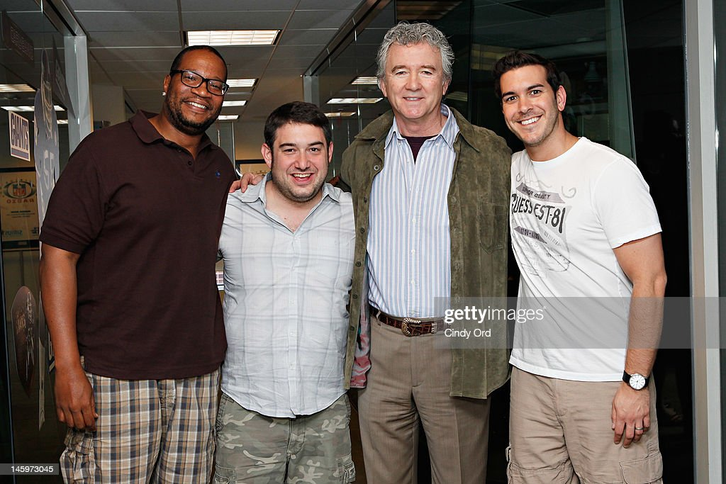 """Actor <a gi-track='captionPersonalityLinkClicked' href=/galleries/search?phrase=Patrick+Duffy+-+Actor&family=editorial&specificpeople=224536 ng-click='$event.stopPropagation()'>Patrick Duffy</a> (2nd Right) visits """"The Morning Mash Up"""" on SiriusXM Hits 1 the SiriusXM Studio on June 8, 2012 in New York City."""