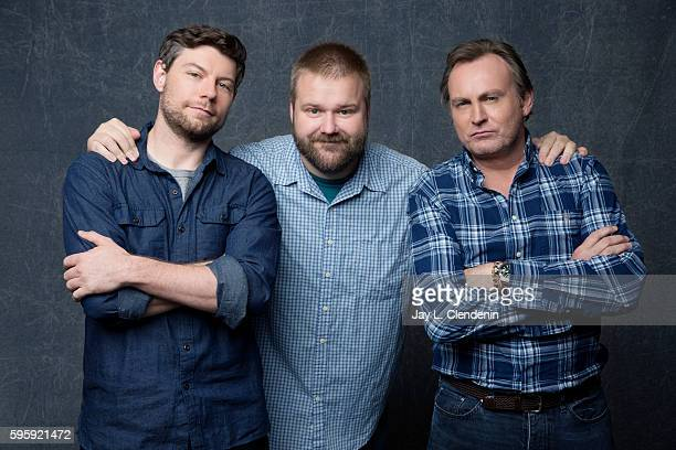 Actor Patrick Fugit Robert Kirkman and Philip Glenister of the television series ' Outcast' are photographed for Los Angeles Times at San Diego Comic...