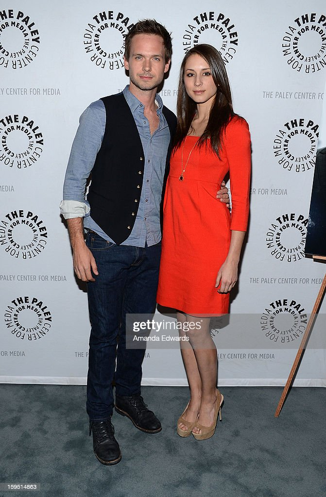 Actor <a gi-track='captionPersonalityLinkClicked' href=/galleries/search?phrase=Patrick+J.+Adams&family=editorial&specificpeople=4195512 ng-click='$event.stopPropagation()'>Patrick J. Adams</a> (L) and actress <a gi-track='captionPersonalityLinkClicked' href=/galleries/search?phrase=Troian+Bellisario&family=editorial&specificpeople=6886214 ng-click='$event.stopPropagation()'>Troian Bellisario</a> arrive at The Paley Center For Media Presents An Evening With 'Suits' Mid-Season Premiere Screening And Panel at The Paley Center for Media on January 14, 2013 in Beverly Hills, California.