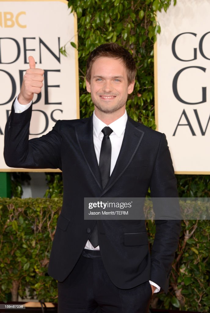 Actor <a gi-track='captionPersonalityLinkClicked' href=/galleries/search?phrase=Patrick+J.+Adams&family=editorial&specificpeople=4195512 ng-click='$event.stopPropagation()'>Patrick J. Adams</a> arrives at the 70th Annual Golden Globe Awards held at The Beverly Hilton Hotel on January 13, 2013 in Beverly Hills, California.