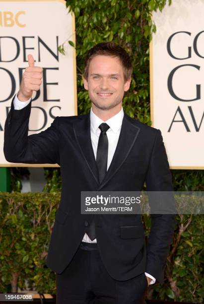Actor Patrick J Adams arrives at the 70th Annual Golden Globe Awards held at The Beverly Hilton Hotel on January 13 2013 in Beverly Hills California