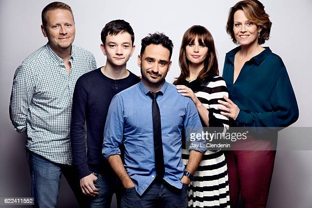 Actor Patrick Ness actor Lewis MacDougall director JA Bayona actress Felicty Jones and actress Sigourney Weaver from the film 'A Monster Calls' pose...