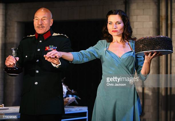 Actor Patrick Stewart and actress Kate Fleetwood perform at the Cast of Macbeth Photocall at the Gielgud Theatre on September 25 2007 in London...