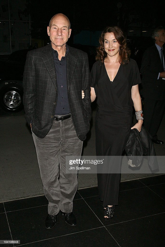 Actor Patrick Stewart and guest attend the Cinema Society and BlackBerry Torch screening of 'You Will Meet a Tall Dark Stranger' at MOMA on September...