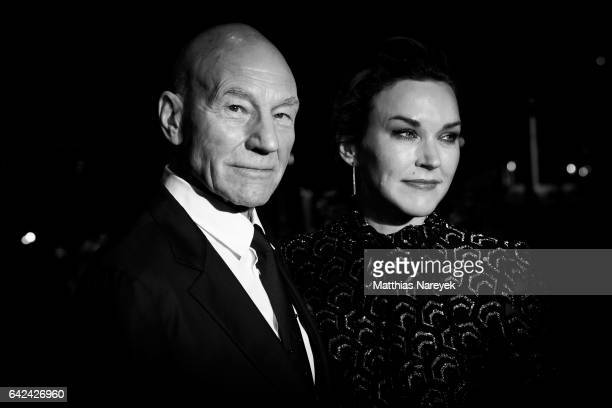 Actor Patrick Stewart and his wife Sunny Ozell attend the 'Logan' premiere during the 67th Berlinale International Film Festival on February 17 2017...