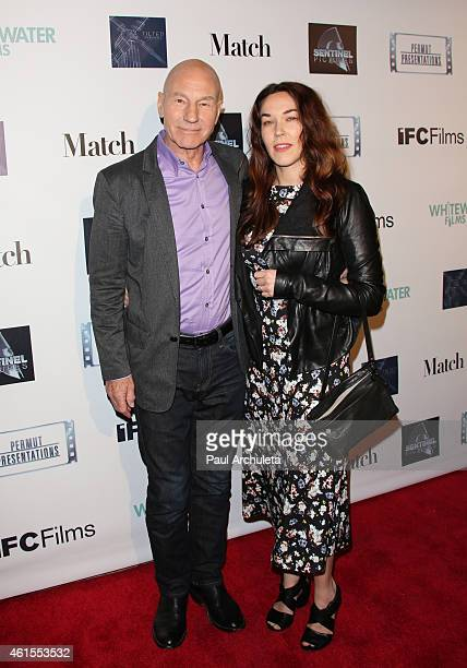 Actor Patrick Stewart and his Wife Sunny Ozell attend the premiere of 'Match' at the Laemmle Music Hall on January 14 2015 in Beverly Hills California