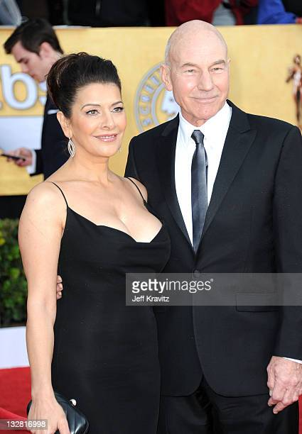 Actor Patrick Stewart and Marina Sirtis arrive at the 17th Annual Screen Actors Guild Awards held at The Shrine Auditorium on January 30 2011 in Los...
