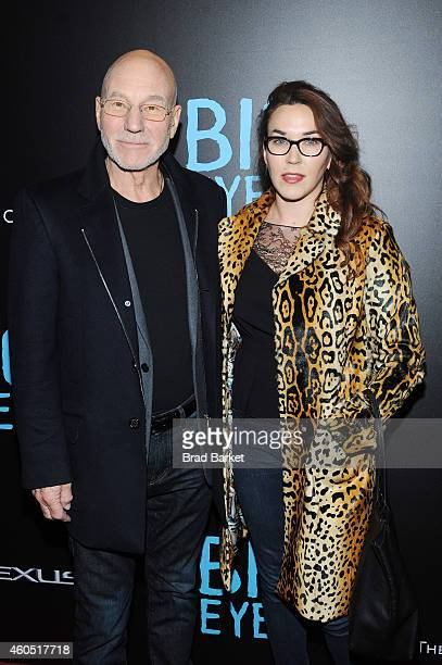Actor Patrick Stewart and singer Sunny Ozell attend the 'Big Eyes' New York Premiere at Museum of Modern Art on December 15 2014 in New York City