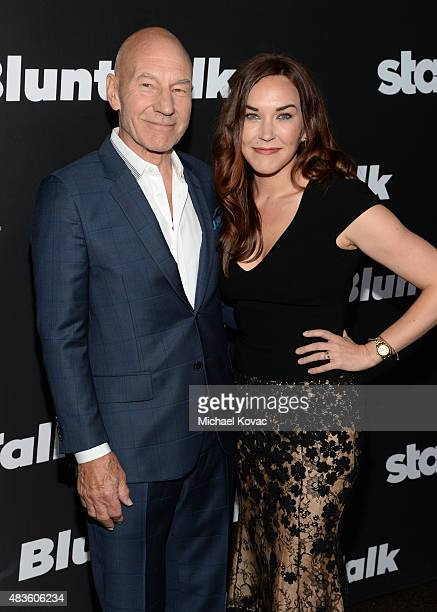 Actor Patrick Stewart and Sunny Ozell attend the STARZ' 'Blunt Talk' series premiere on August 10 2015 in Los Angeles California