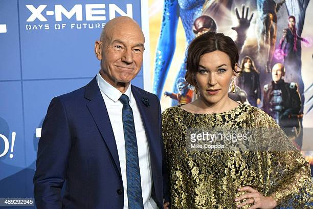 Actor Patrick Stewart and Sunny Ozell attend the 'XMen Days Of Future Past' world premiere at Jacob Javits Center on May 10 2014 in New York City
