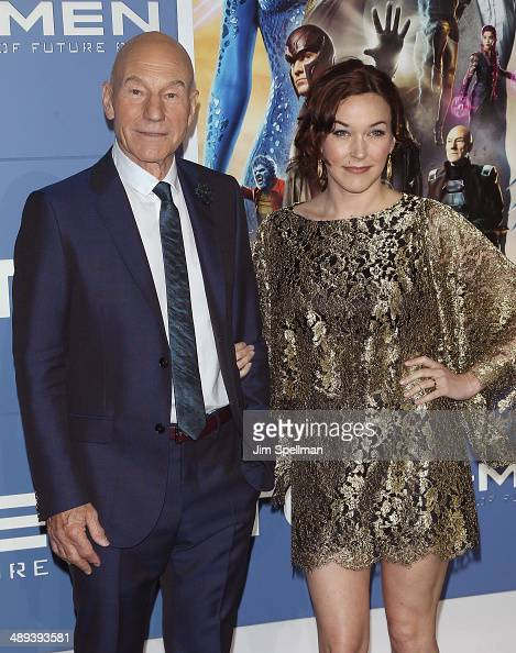 Actor Patrick Stewart and Sunny Ozell attend the 'XMen Days Of Future Past' World Premiere Outside Arrivals at Jacob Javits Center on May 10 2014 in...