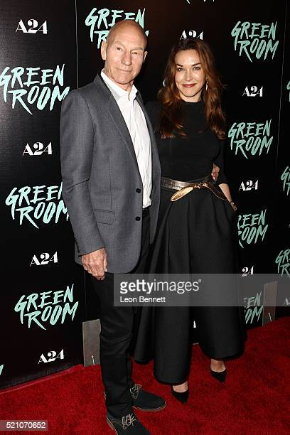 Actor Patrick Stewart and Sunny Ozell attends the premiere of A24's 'Green Room' at ArcLight Hollywood on April 13 2016 in Hollywood California