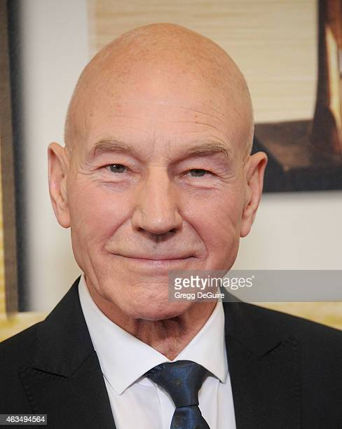 Actor Patrick Stewart arrives at the 2015 Writers Guild Awards LA Ceremony at the Hyatt Regency Century Plaza on February 14 2015 in Los Angeles...