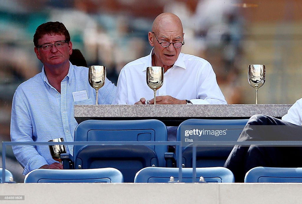 Actor Patrick Stewart (right) attends Day Ten of the 2014 US Open at the USTA Billie Jean King National Tennis Center on September 3, 2014 in the Flushing neighborhood of the Queens borough of New York City.