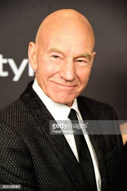 Actor Patrick Stewart attends InStyle and Warner Bros 73rd Annual Golden Globe Awards PostParty at The Beverly Hilton Hotel on January 10 2016 in...