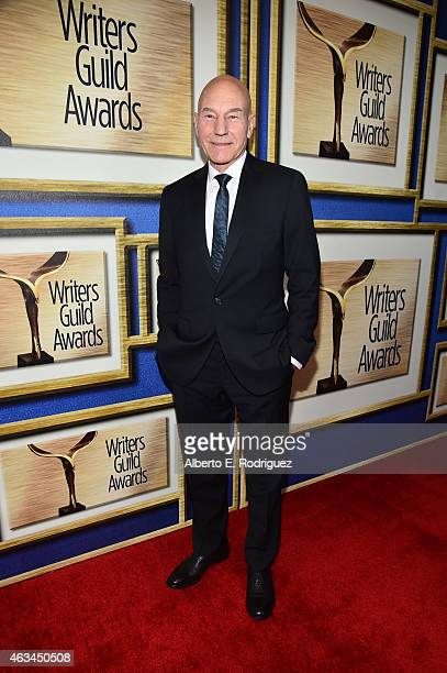 Actor Patrick Stewart attends the 2015 Writers Guild Awards LA Ceremony at the Hyatt Regency Century Plaza on February 14 2015 in Century City...