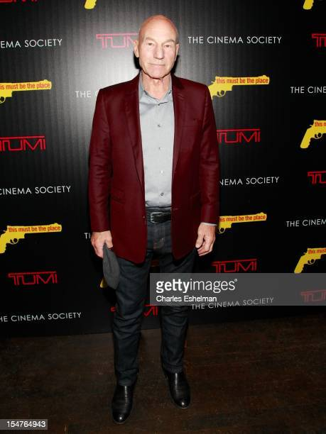 Actor Patrick Stewart attends the Weinstein Company The Cinema Society Tumi screening of 'This Must Be the Place' at the Tribeca Grand Screening Room...