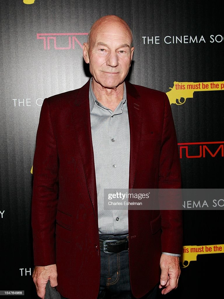 Actor <a gi-track='captionPersonalityLinkClicked' href=/galleries/search?phrase=Patrick+Stewart&family=editorial&specificpeople=203271 ng-click='$event.stopPropagation()'>Patrick Stewart</a> attends the Weinstein Company, The Cinema Society & Tumi screening of 'This Must Be the Place' at the Tribeca Grand Screening Room on October 25, 2012 in New York City.