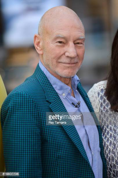Actor Patrick Stewart leaves the 'Good Morning America' taping at the ABC Times Square Studios on July 17 2017 in New York City