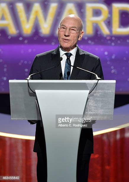 Actor Patrick Stewart speaks onstage at the 2015 Writers Guild Awards LA Ceremony at the Hyatt Regency Century Plaza on February 14 2015 in Century...