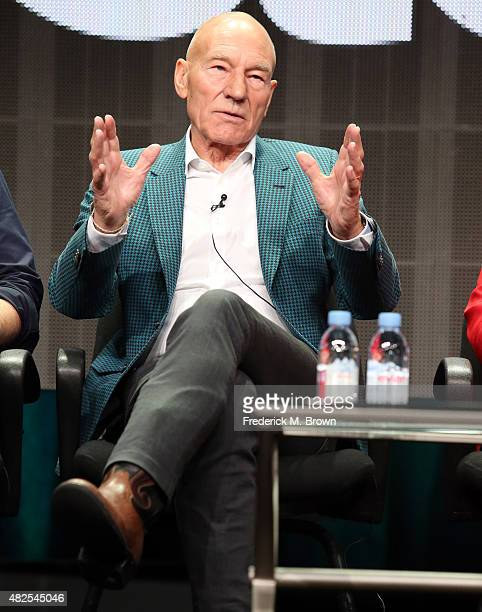 Actor Patrick Stewart speaks onstage during the 'Blunt Talk' panel discussion at the STARZ portion of the 2015 Summer TCA Tour at The Beverly Hilton...