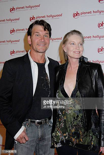 Actor Patrick Swayze and wife Lisa Niemi arrive arrives at Jon Stewart's performance at Planet Hollywood Resort Casino's Grand Opening Weekend on...