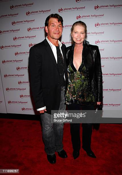 Actor Patrick Swayze and wife Lisa Niemi arrive at Jon Stewart's performance at Planet Hollywood Resort Casino's Grand Opening Weekend on November 16...