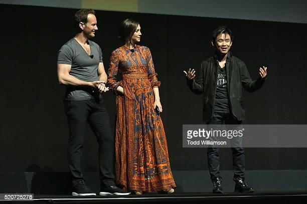 "Actor Patrick Wilson actress Vera Farmiga and director James Wan speak onstage during CinemaCon 2016 Warner Bros Pictures Invites You to ""The Big..."