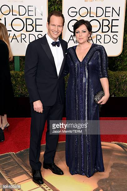 Actor Patrick Wilson and Dagmara Dominczyk attend the 73rd Annual Golden Globe Awards held at the Beverly Hilton Hotel on January 10 2016 in Beverly...