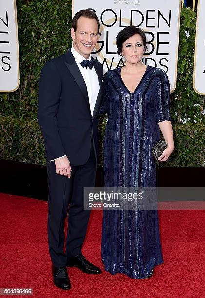 Actor Patrick Wilson and Dagmara Dominczyk attends the 73rd Annual Golden Globe Awards held at the Beverly Hilton Hotel on January 10 2016 in Beverly...