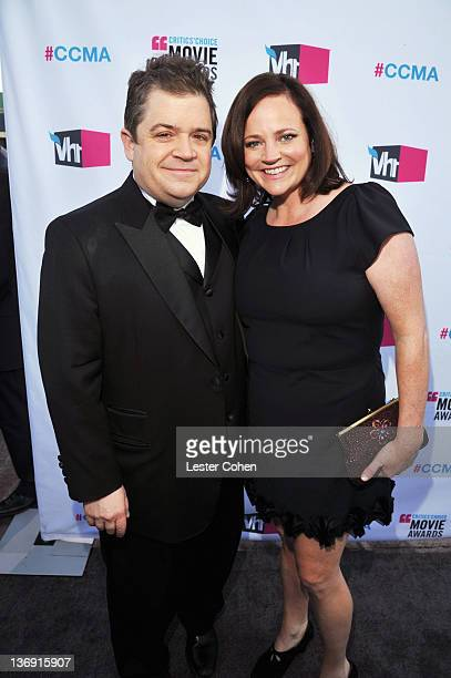 Actor Patton Oswalt and Michelle McNamara arrive at the 17th Annual Critics' Choice Movie Awards held at The Hollywood Palladium on January 12 2012...