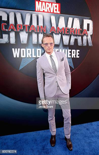 Actor Paul Bettany attends The World Premiere of Marvel's 'Captain America Civil War' at Dolby Theatre on April 12 2016 in Los Angeles California