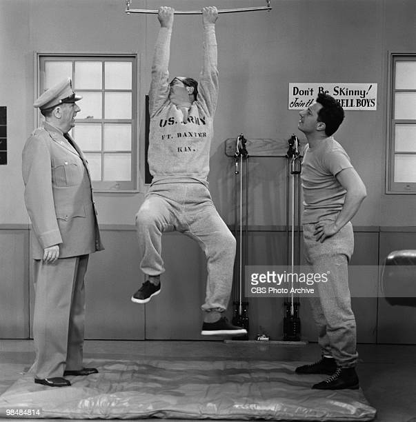Actor Paul Ford as Colonel John Hall Phil Silvers as MSgt Ernest G 'Ernie' Bilko Harvey Lembeck as Cpl Rocco Barbella on 'The Phil Silvers Show' in...