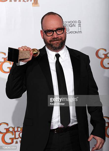 Actor Paul Giamatti poses with his award for Best Performance by an Actor in a Motion Picture for 'Barney's Version' in the press room at the 68th...