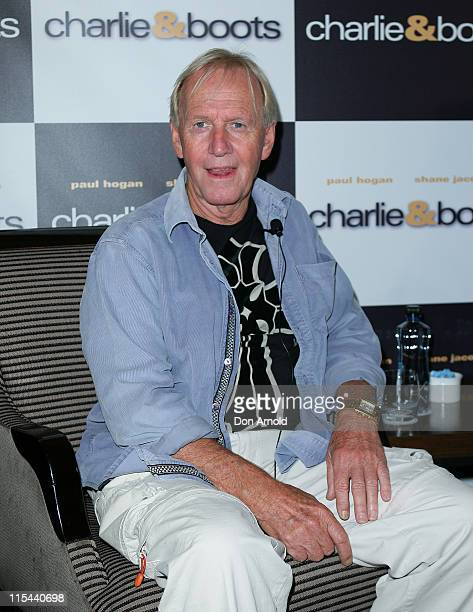 Actor Paul Hogan attends the press conference for their new film 'Charlie Boots' at The Intercontinental Sydney Hotel on October 28 2008 in Sydney...