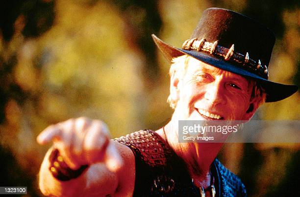 Actor Paul Hogan performs in a scene on the set of the film 'Crocodile Dundee in Los Angeles' in this undated photo