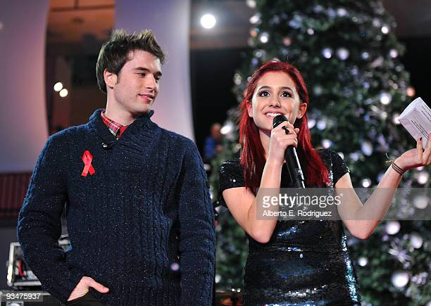 Actor Paul McGill and singer Ariana Grande speak at Hollywood Highland Center and One Heartland's 'Holiday of Hope' tree lighting celebration on...