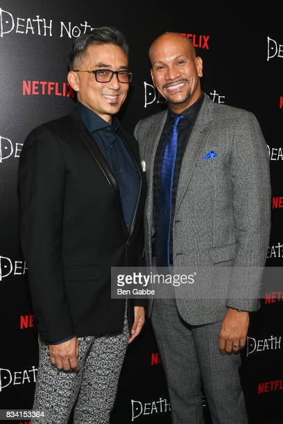 Actor Paul Nakauchi and husband David Mateo attend the 'Death Note' New York premiere at AMC Loews Lincoln Square 13 theater on August 17 2017 in New...