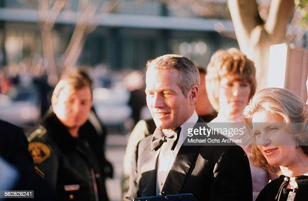 Actor Paul Newman with his wife actress Joanne Woodward arrive to the 46th Academy Awards at Dorothy Chandler Pavilion in Los AngelesCalifornia