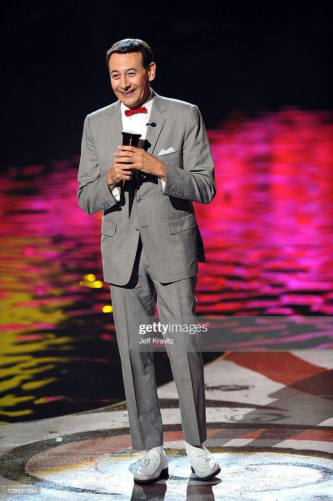 Actor Paul Reubens aka 'Peewee Herman' onstage during Spike TV's 'Scream 2011' at Universal Studios on October 15 2011 in Universal City California