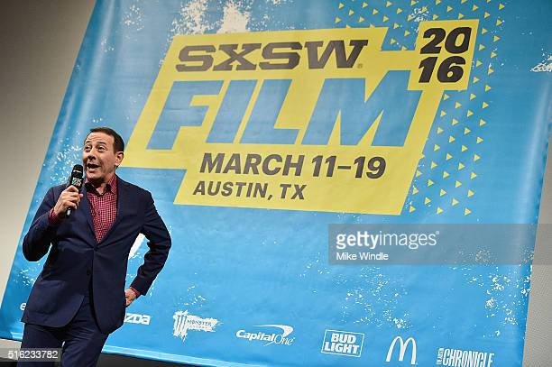 Actor Paul Reubens attends the premiere of 'Peewee's Big Holiday' during the 2016 SXSW Music Film Interactive Festival at Paramount Theatre on March...