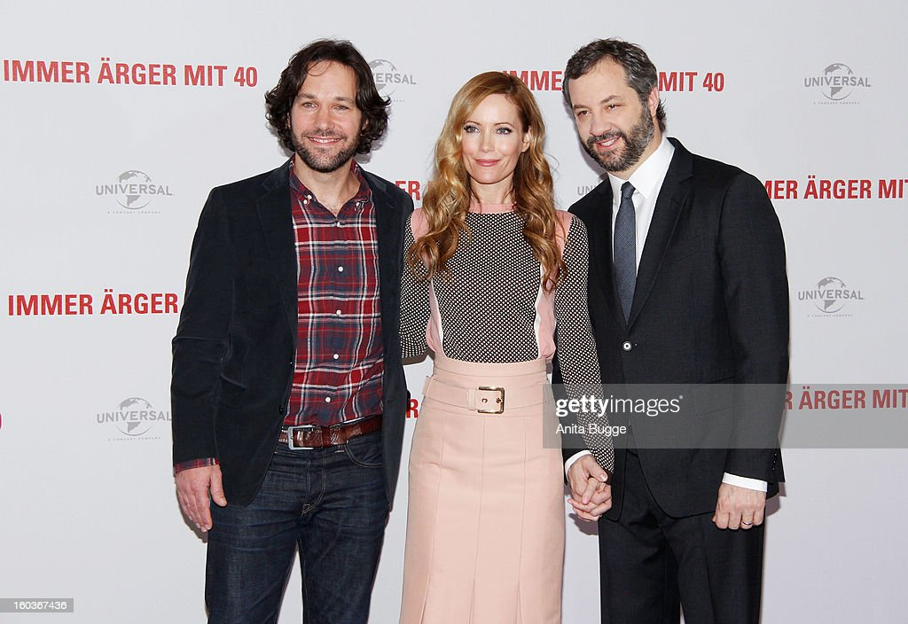 Actor Paul Rudd, actress Leslie Mann and her husband and director Judd Apatow attend the 'Immer Aerger mit 40' Berlin photocall at Hotel Adlon on January 30, 2013 in Berlin, Germany.